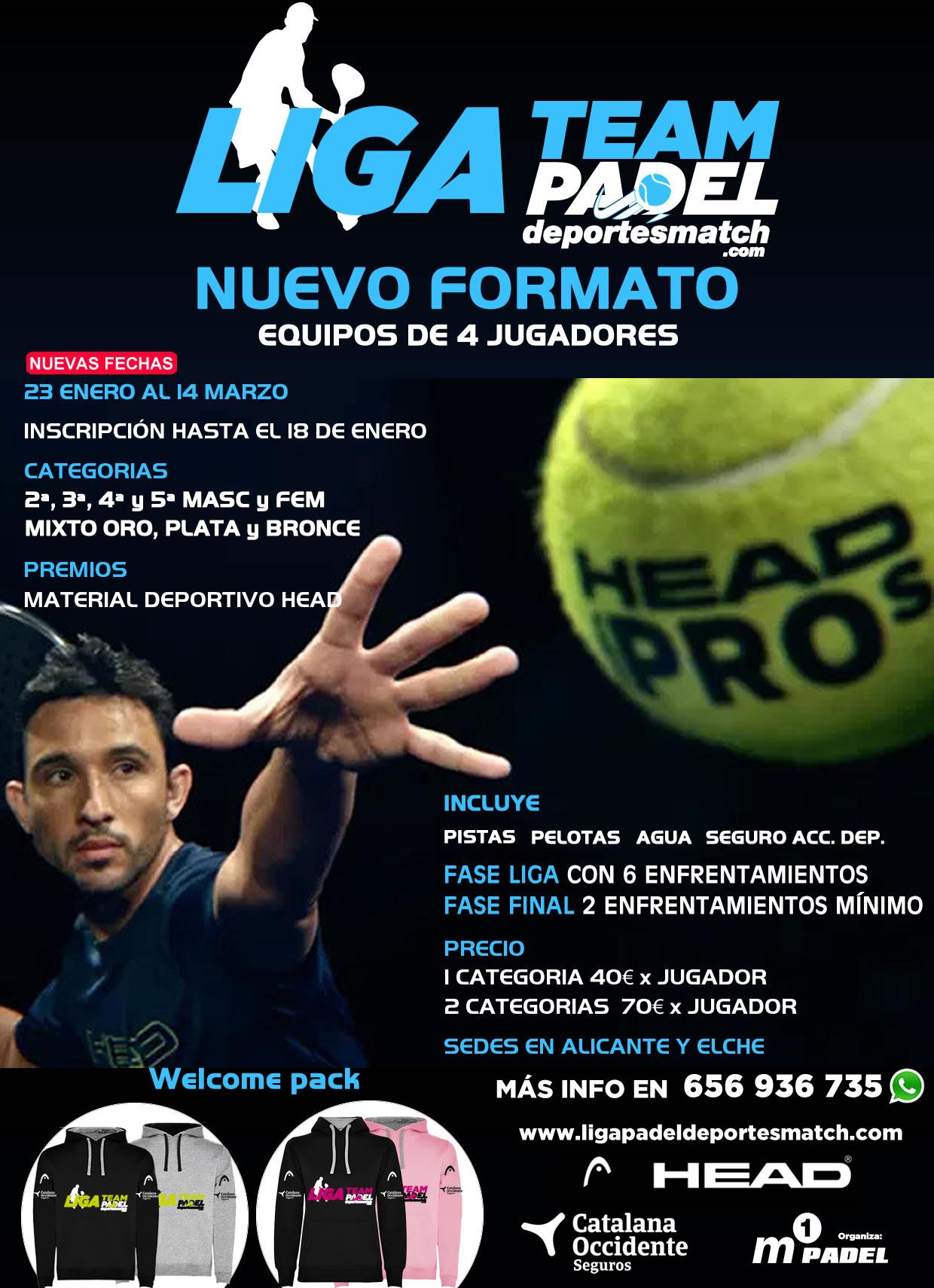 Cartel del nuevo formato de la Liga Team Padel - Deportes Match